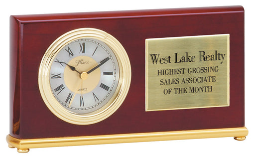 Horizontal Rosewood Finish Desk Clock