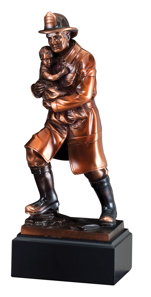 Firefighter with Child Bronze Resin