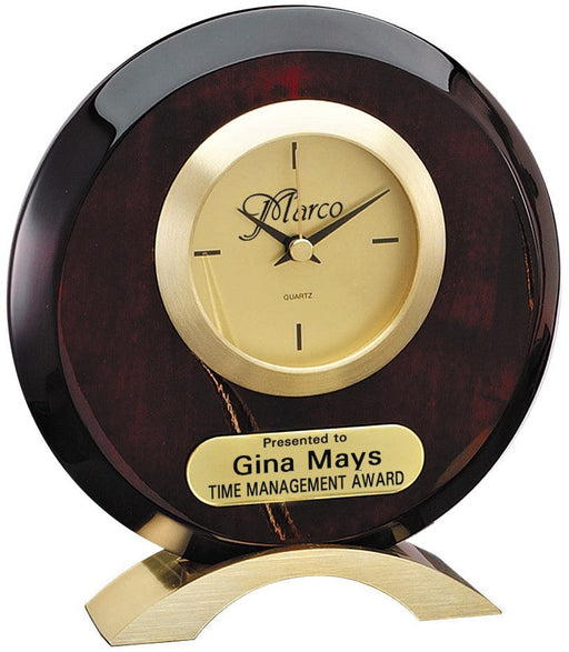 Round Rosewood Piano Finish Desk Clock