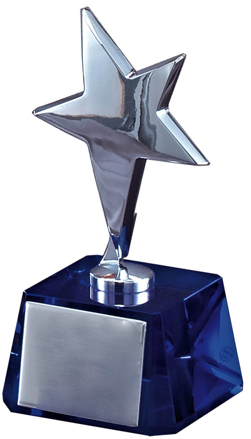Silver Star on Blue Crystal Base