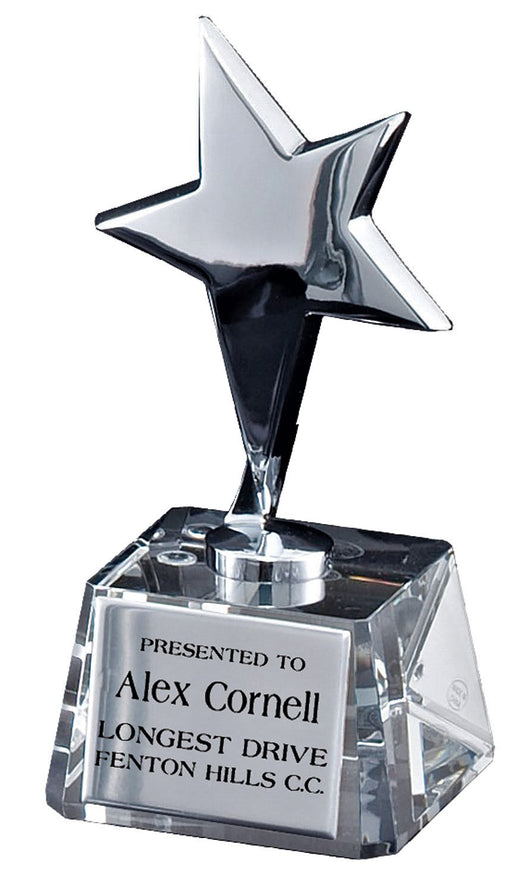 Silver Star on Crystal Base