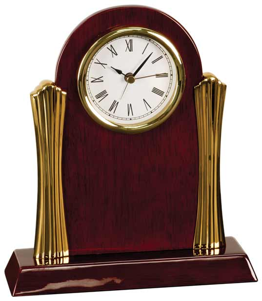 Rosewood Piano Finish Clock with Gold Columns