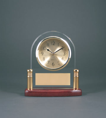 Arch Glass  Clock with Metal Posts