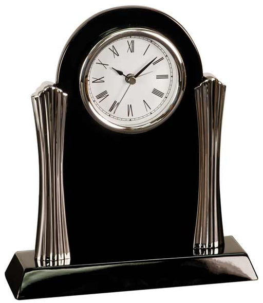 Black Piano Finish Clock with Silver Columns