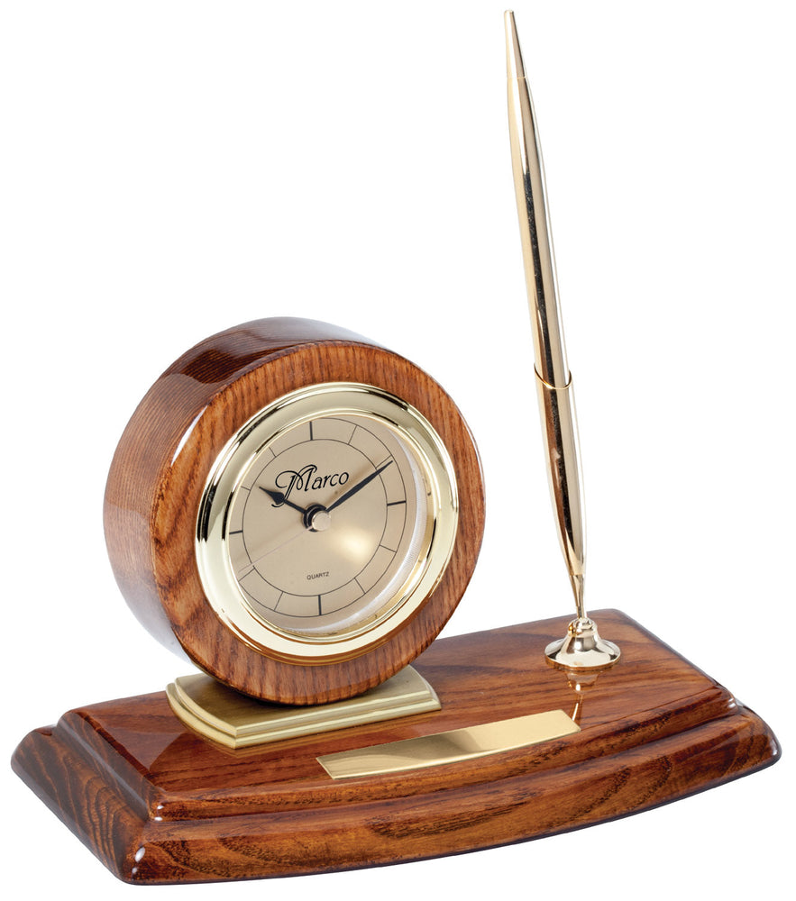 Solid Walnut Piano Finish Desk Clock with 1 Pen