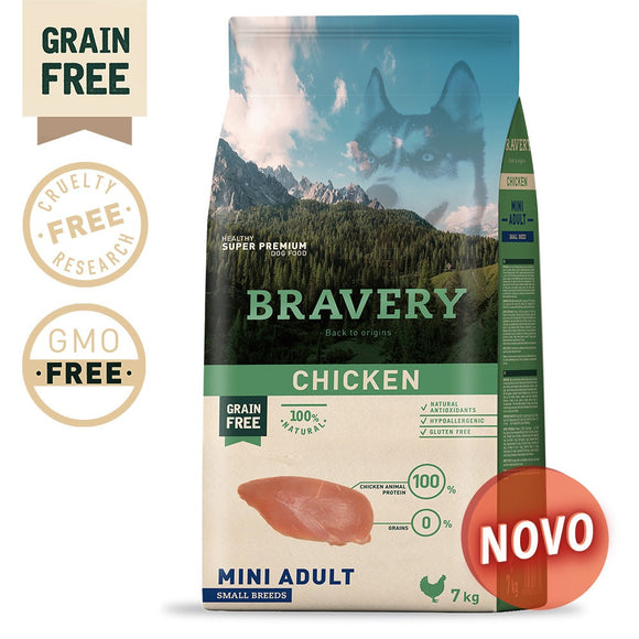 BRAVERY CHICKEN ADULT MINI-SMALL (GRAIN FREE)(2kg ou 7kg)