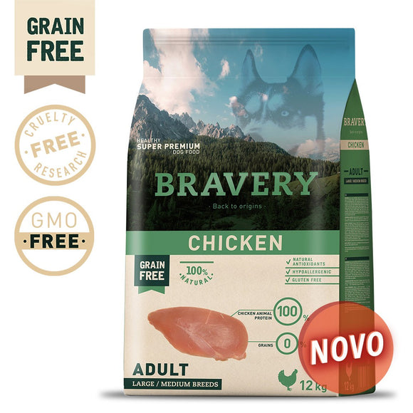 BRAVERY CHICKEN ADULT MEDIUM-LARGE (GRAIN FREE)(4kg ou 12kg)