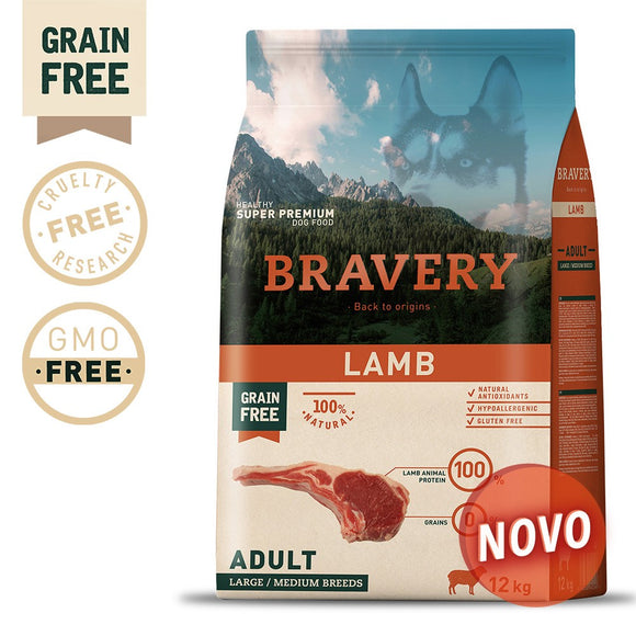 BRAVERY LAMB ADULT MEDIUM-LARGE (GRAIN FREE)(4kg ou 12kg)