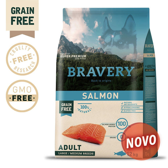 BRAVERY SALMON ADULT MEDIUM-LARGE (GRAIN FREE)(4kg ou 12kg)