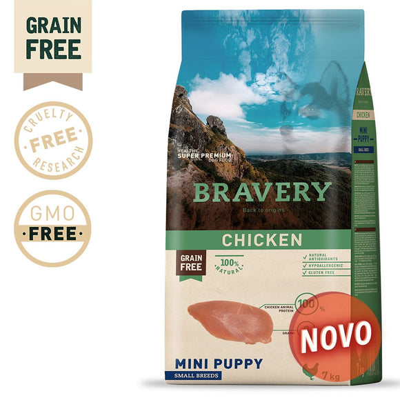 BRAVERY CHICKEN PUPPY MINI-SMALL (GRAIN FREE) (GRAIN FREE)(2kg ou 7kg)