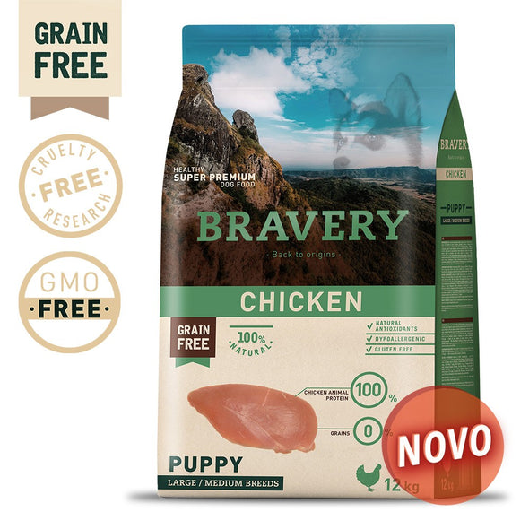 BRAVERY CHICKEN PUPPY MEDIUM-LARGE (GRAIN FREE)(4kg ou 12kg)