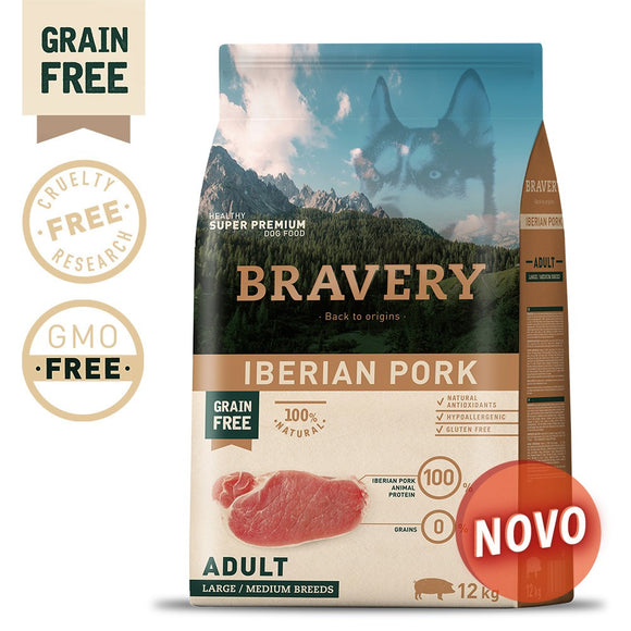 BRAVERY IBERIAN PORK ADULT MEDIUM-LARGE (GRAIN FREE) (4kg a 12kg)