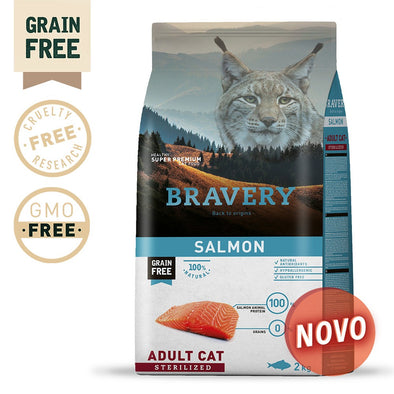 BRAVERY SALMON ADULT CAT STERILIZED (GRAIN FREE)(400g, 2kg ou 7kg)