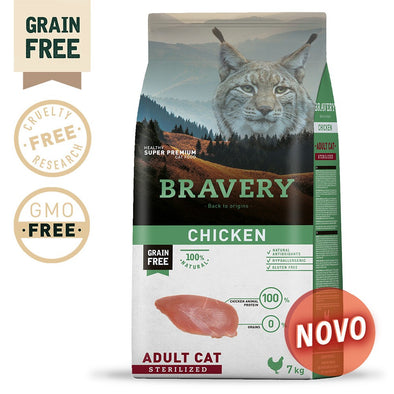 BRAVERY CHICKEN ADULT CAT STERILIZED (GRAIN FREE)(400g, 2kg ou 7kg)