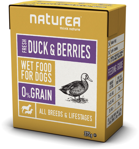 Naturea Wet Food for Dogs Duck & Berries 375g