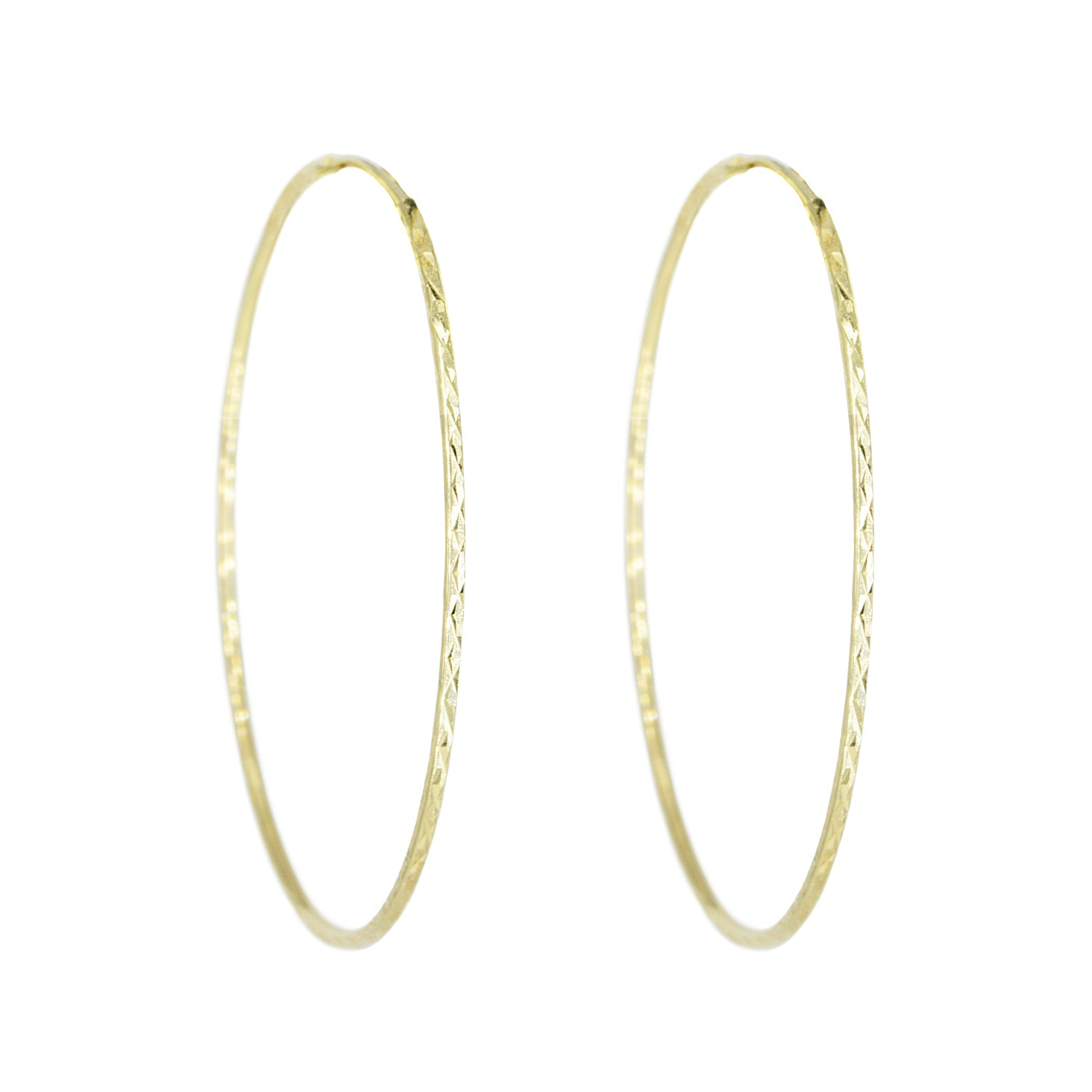 14k Large Gold Sparkle Hoop Earrings