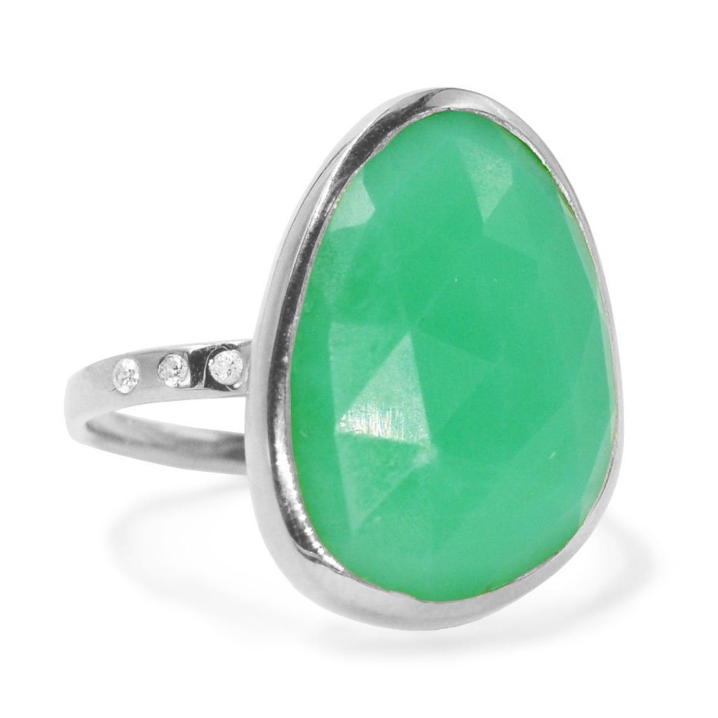 Chrysoprase Gemstone Ring