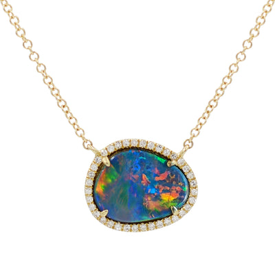 Black Pebble Opal with Diamonds