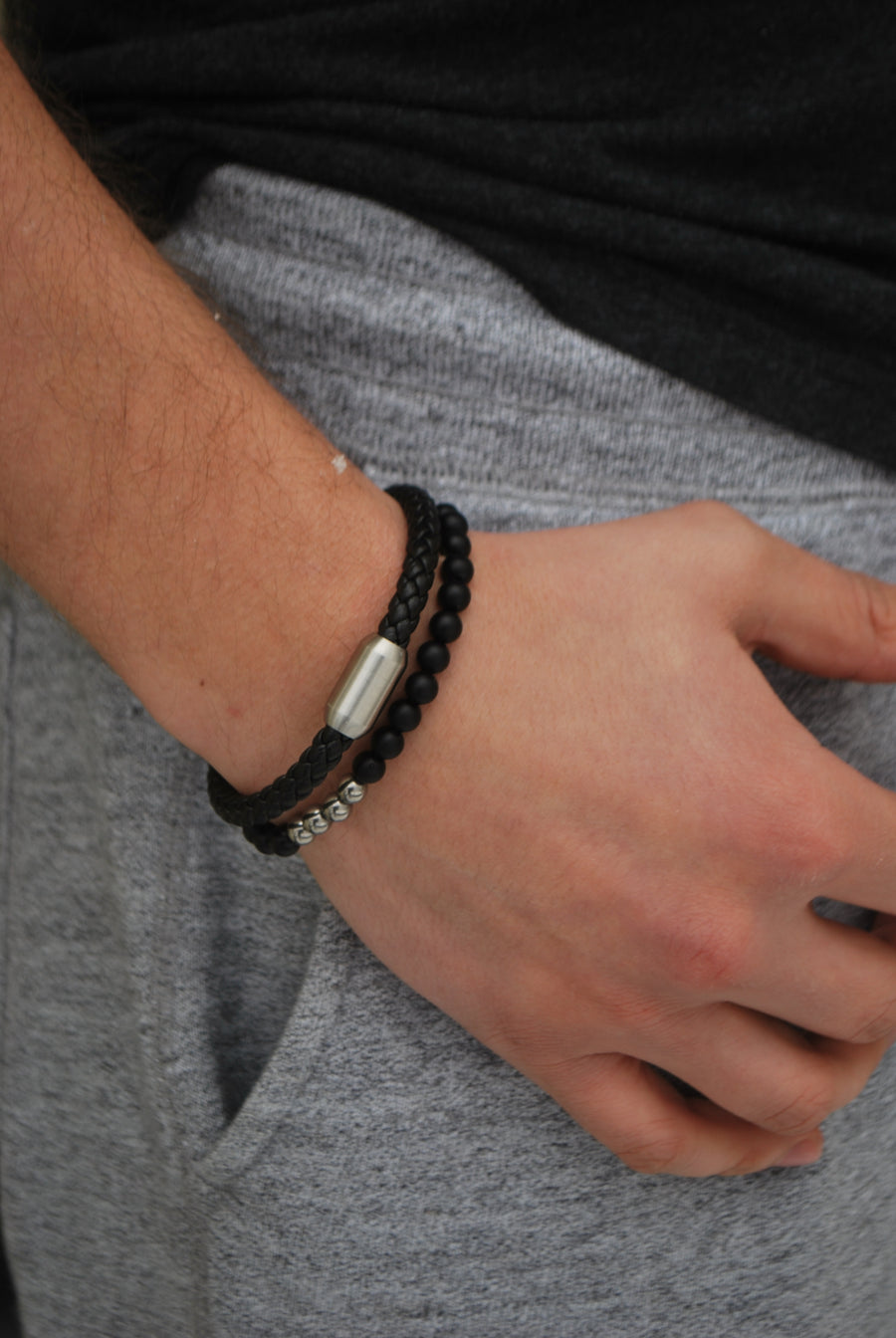 Matte Black Agate and Steel Bracelet