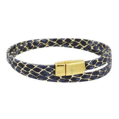 Leather Bracelet with Gold - Thin