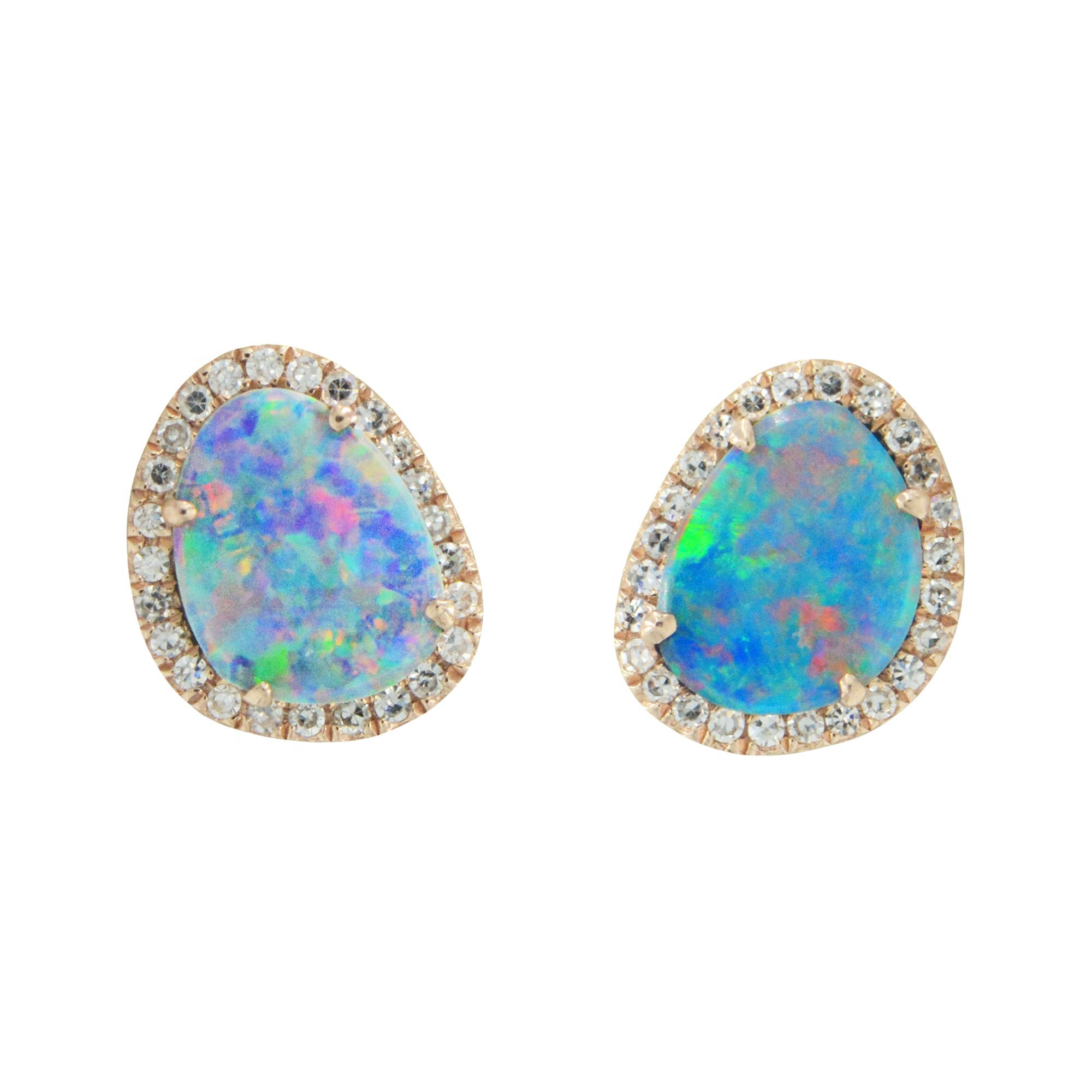 Diamond Opal Pebble Stud Earrings