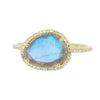Labradorite Pebble Ring with Diamonds