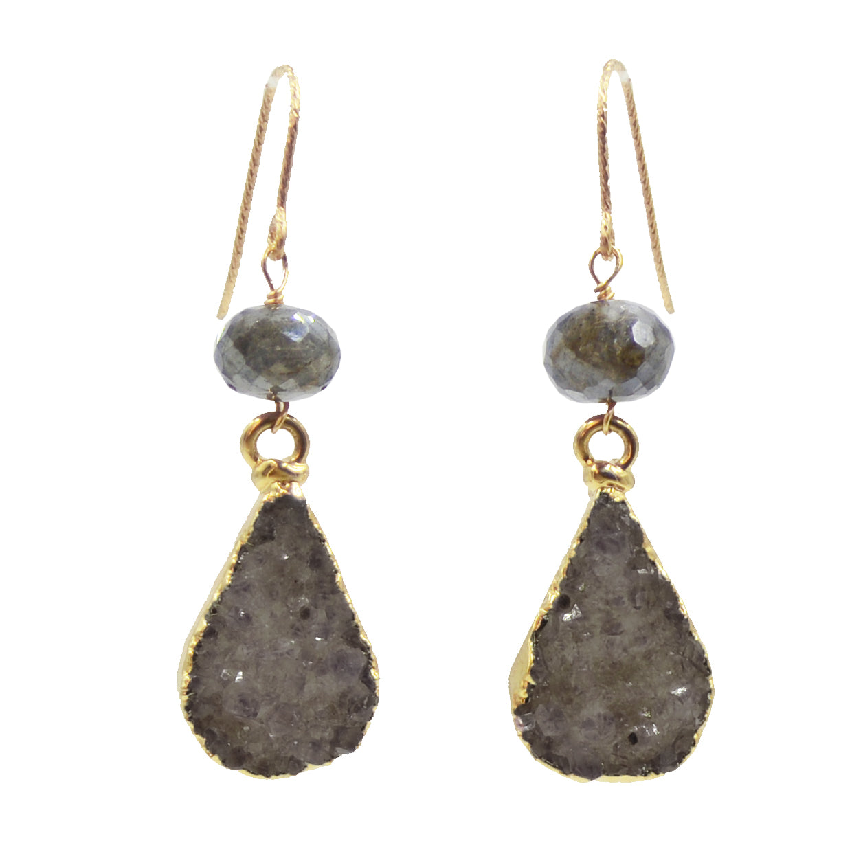 Small Druzy Drop Earrings
