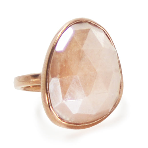 Mystic Peach Moonstone Ring