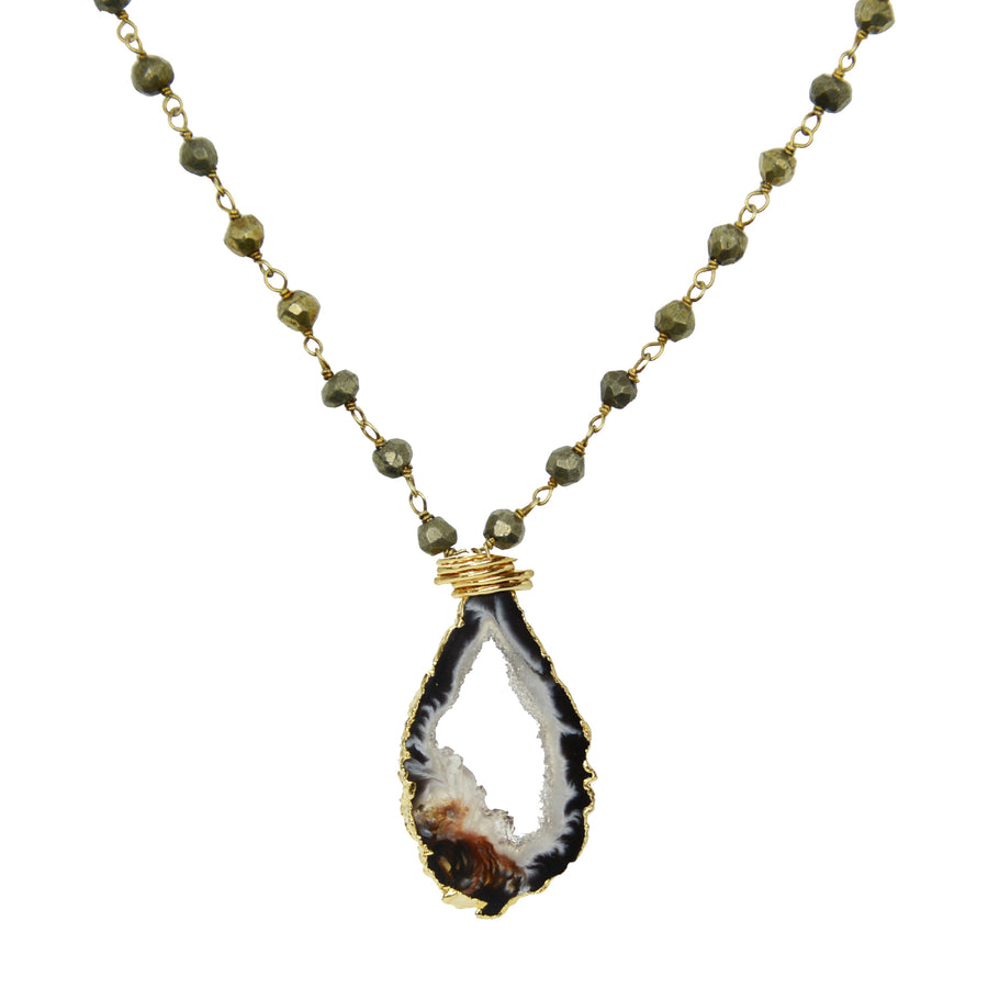 Open Geode on Pyrite Chain