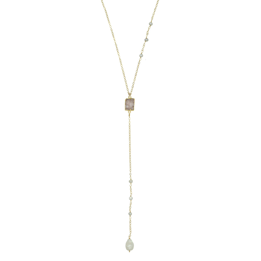 Druzy and Pearl Lariat