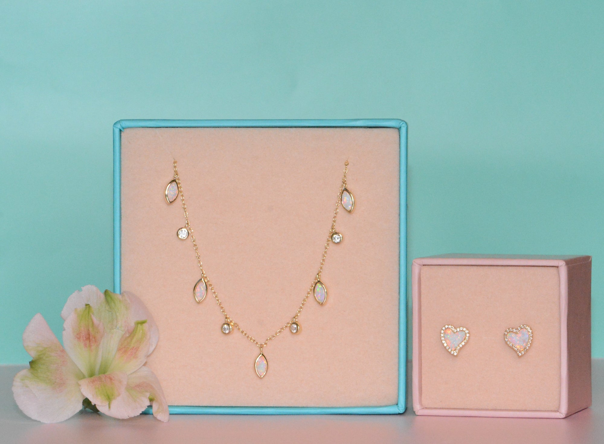 Gift Set | Amore Heart Earrings + Drops of Spring Necklace