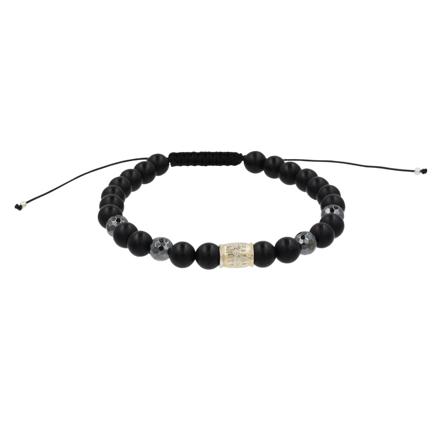 Black Onyx with silver beads