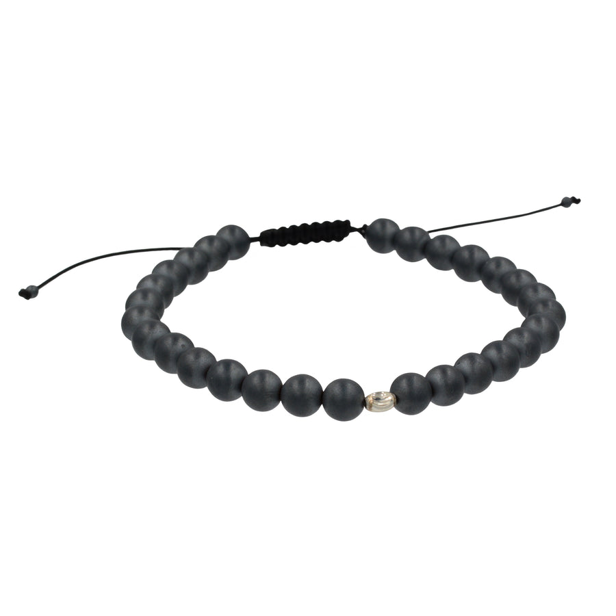 Matte Hematite on Adjustable Cord Bracelet