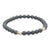 Matte Grey Hematite Bracelet with Silver beads