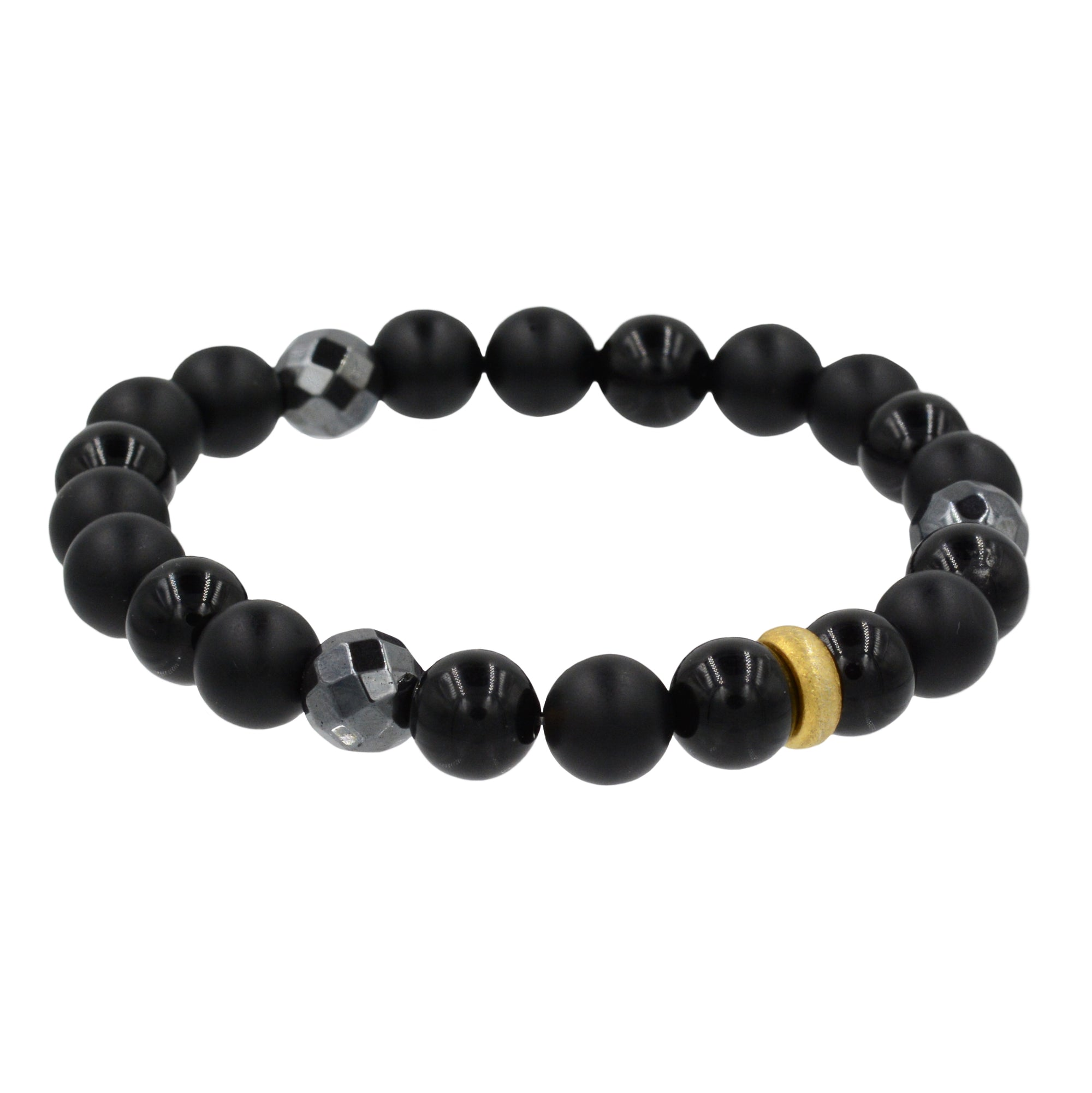 Black Onyx Bracelet with Gold Bead Accents