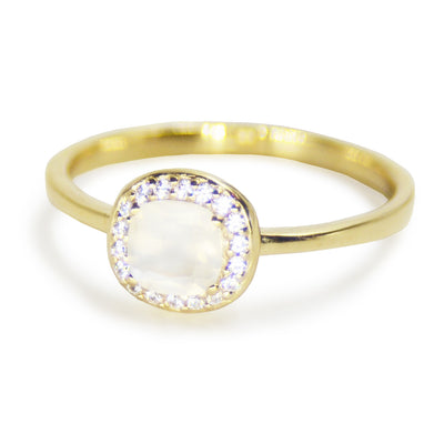 Mini Moonstone Pave Ring