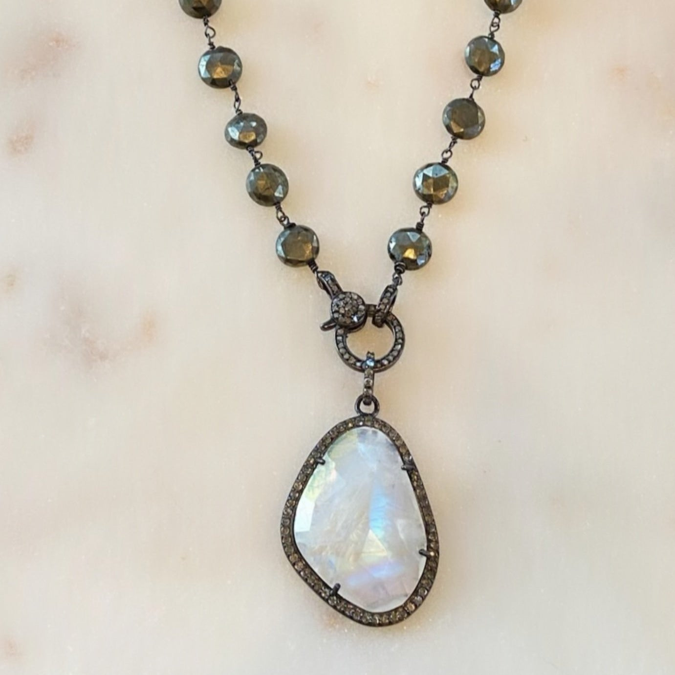 Moonstone on Pyrite Chain
