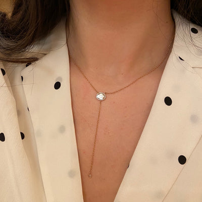 Diamond Slice Lariat - Rose