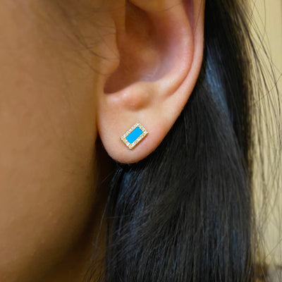 Rectangle Turquoise Diamond Studs