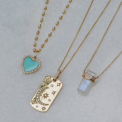Turquoise Heart Necklace With Diamonds on Paperclip Link Chain 14k and Celestial Dogtag Necklace and Moonstone Necklace