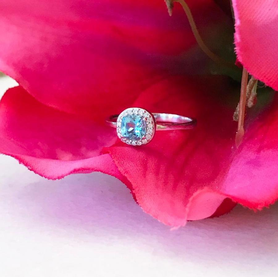 Mini Blue Topaz Pave Ring