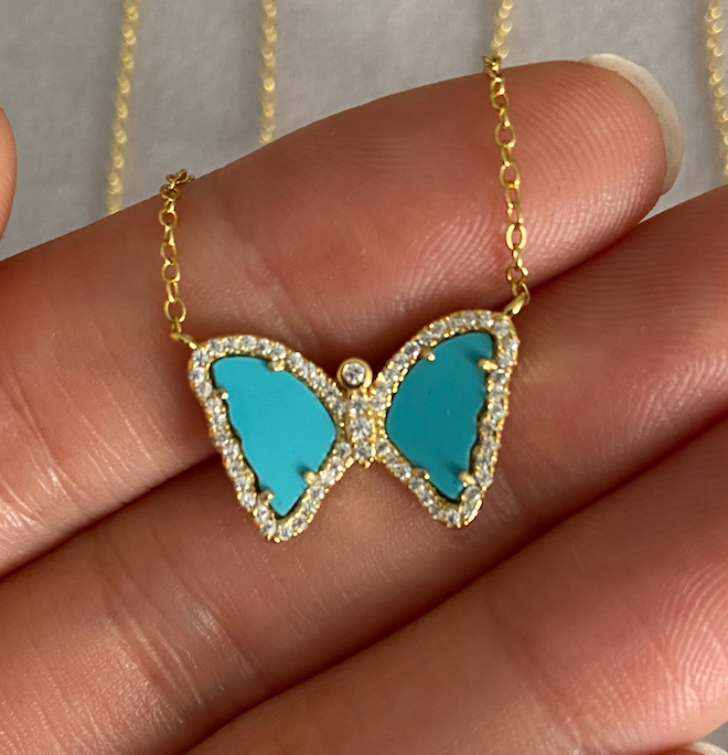 Mini Turquoise Butterfly Necklace