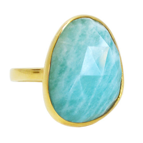 Amazonite Large Gemstone Cocktail Ring in Gold