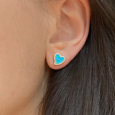 Amore heart stud earrings with crystals in blue opal