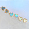 Amore heart stud earrings with crystals in assorted opal colors