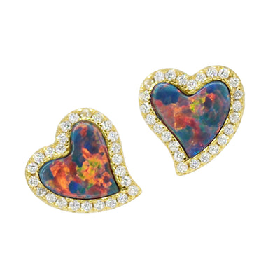Amore heart stud earrings with crystals in black opal