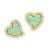 Amore heart stud earrings with crystals in green opal
