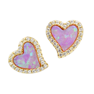 Amore heart stud earrings with crystals in pink opal and yellow gold