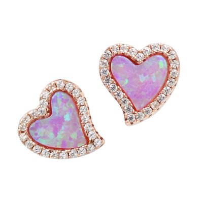 Amore heart stud earrings with crystals in pink opal and rose gold