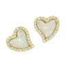 Amore heart stud earrings with crystals in white opal